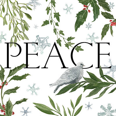 Animal Christmas Painting - Peace And Joy I by Sara Zieve Miller