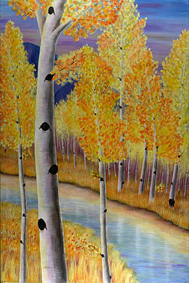 Birch Painting - Peace Like A River II by Elizabeth Golden