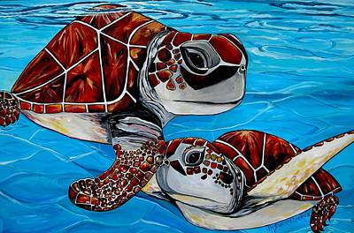 Sea Turtles Painting - Peace Love And Turtles by Patti Schermerhorn