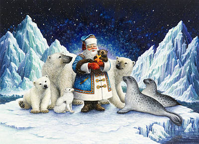 Santa Claus Painting - Peace On Earth  by Lynn Bywaters