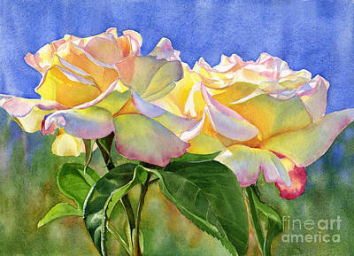 Peace Rose Painting - Peace Roses With Blue Background by Sharon Freeman
