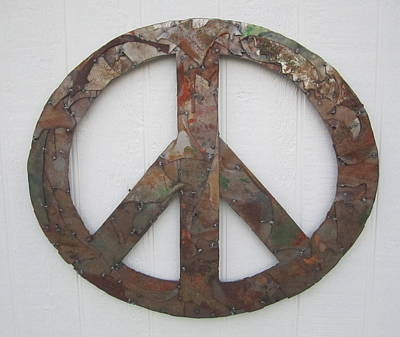 Peace Sign From Pieces Recylced Metal Wall Sculpture Print by Robert Blackwell