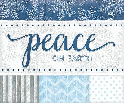 Christmas Painting - Peace Silver Blue by Jennifer Pugh
