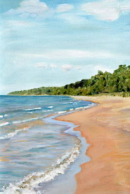 Lake Michigan Painting - Peaceful Beach At Pier Cove by Michelle Calkins