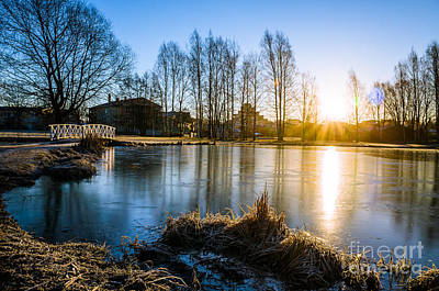 Peaceful Spring Morning At The Icy Pond Print by Ismo Raisanen