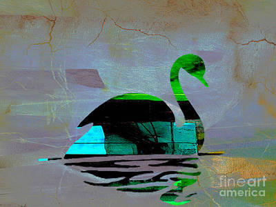 Birds Mixed Media - Peaceful Swan On A Lake by Marvin Blaine