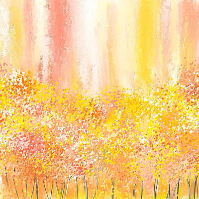 Peach Painting - Peach And Yellow Garden- Peach And Yellow Art by Lourry Legarde