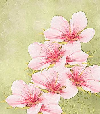 Digital Abstract Painting - Peach Blossom by Veronica Minozzi