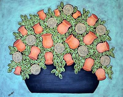 Peach Blossoms And Licorice Swirls Print by Stewalynn Art