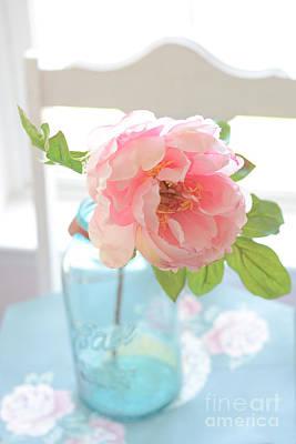 Dreamy Peony Vintage Mason Ball Jar - Ethereal Dreamy Peony Flower Shabby Chic Aqua Peach White  Print by Kathy Fornal