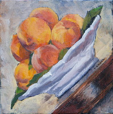Ceramic Glazes Painting - Peaches     Order This One If You Don't Want Blank White Surrounding Your Image  by Roger Clark