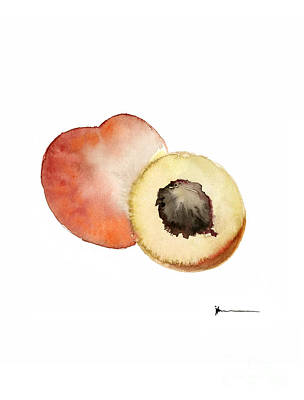Peach Mixed Media - Peaches Artwork Watercolor Poster  by Joanna Szmerdt