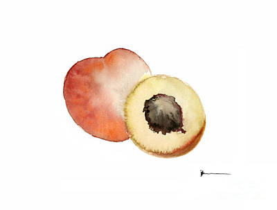 Peach Mixed Media - Peaches Fruits Painting Watercolor Art Print by Joanna Szmerdt