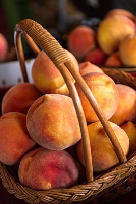 Peaches In Wicker Basket Original by Teri Virbickis