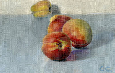 Aerial Perspective Painting - Peaches On A Blue Shelf by Catherine Considine