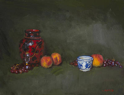 Grapes Painting - Peaches With Blue Ceramic by Walter Lynn Mosley