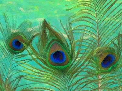 Colorful Photograph - Peacock Feathers  by Lanjee Chee