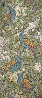Interior Scene Painting - Peacock Garden Wallpaper by Walter Crane