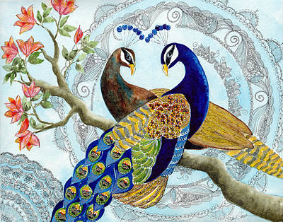 Peacock Painting - Peacock Love by Susy Soulies