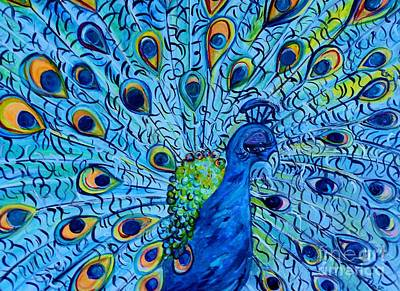 Teal Mixed Media - Peacock On Blue by Eloise Schneider