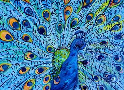 Peacock On Blue Print by Eloise Schneider