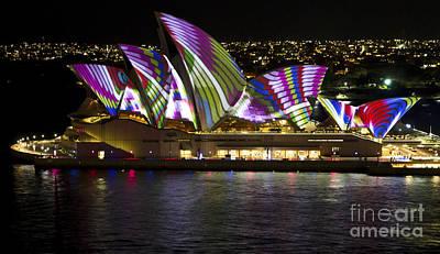 Photograph - Peacock Sails - Sydney Vivid Festival - Sydney Opera House by Bryan Freeman