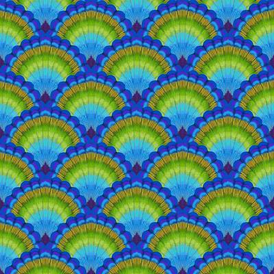 Repetition Painting - Peacock Scallop Feathers by Kimberly McSparran