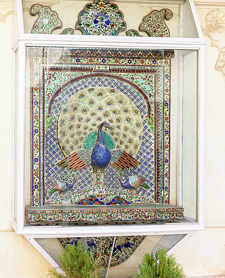 Mosaic Photograph - Peacock Tile Mosaic by Tom Norring