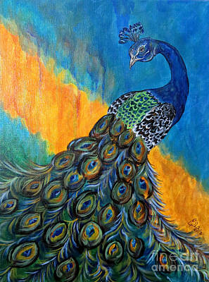 Peacock Drawing - Peacock Waltz #3 by Ella Kaye Dickey