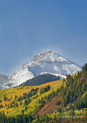 Peak After First Snow Rocky Mts Colorado Print by