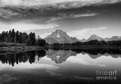 White River Scene Photograph - Peak Reflections 6 Bw by Mel Steinhauer