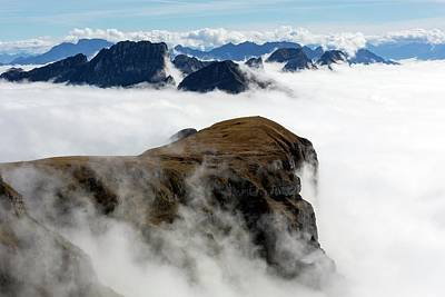 Peaks Surrounded By Sea Of Fog Print by Dr Juerg Alean