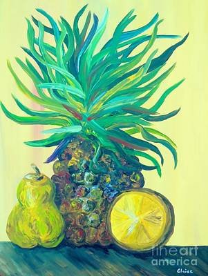 Food And Drink Painting - Pear And Pineapple by Eloise Schneider