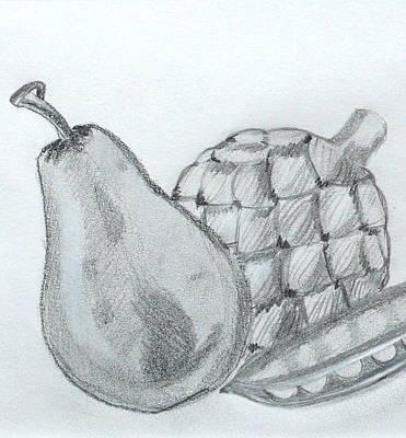 Artichoke Drawing - Pear Artichoke Snap Pea by Anna Ruzsan