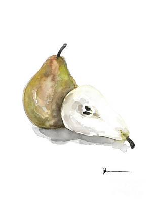 Pear Mixed Media - Pear Fruit Art Print Watercolor Painting by Joanna Szmerdt