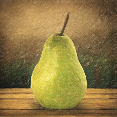 Wooden Table Painting - Pear by Taylan Soyturk