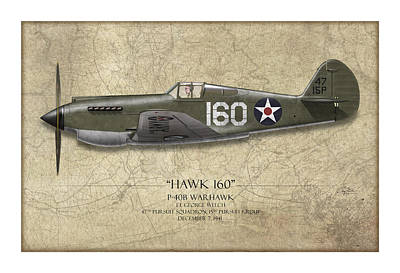 Lt Painting - Pearl Harbor P-40 Warhawk - Map Background by Craig Tinder
