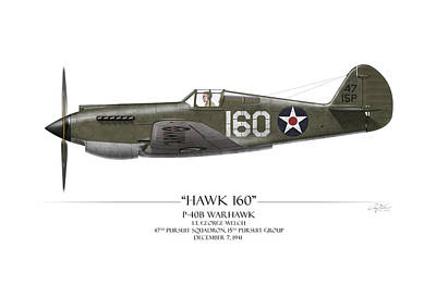 Lt Painting - Pearl Harbor P-40 Warhawk - White Background by Craig Tinder