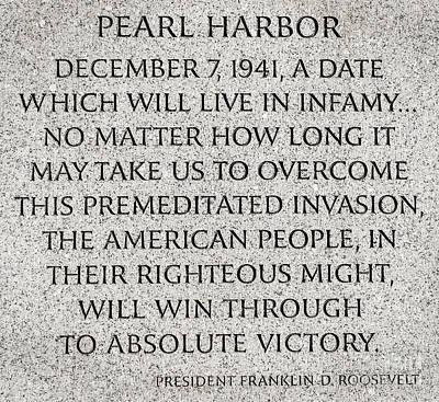 Stone Memorial Photograph - Pearl Harbor Speech - Franklin Delano Roosevelt by Gary Whitton