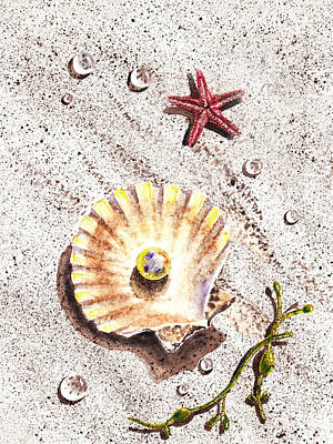 Yellow Painting - Pearl In The Seashell Sea Star And The Water Drops by Irina Sztukowski