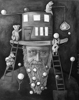 Old Man Fishing Painting - Pearls For Swine Bw by Leah Saulnier The Painting Maniac