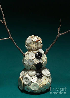Carrot Mixed Media - Pearly Snowman Christmas Card by Adam Long