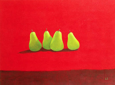 Pears On Red Cloth Print by Lincoln Seligman