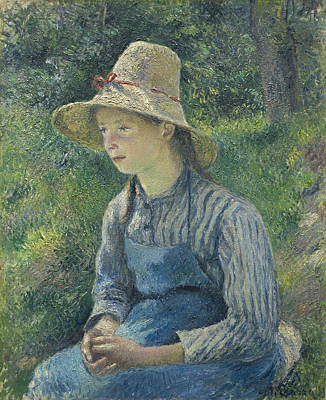 Peasant Girl In A Straw Hat - Camille Pissarro Print by J Morgan Massey