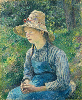 Peasant Girl With A Straw Hat Print by Camille Pissarro