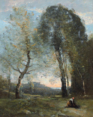 Peasant Woman Collecting Wood Print by Jean Baptiste Camille Corot