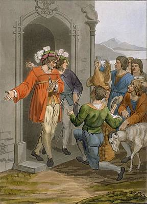 Goat Drawing - Peasants Giving Tithes, Alpine Region by Italian School