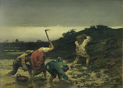 Peasants Harvesting Potatoes During The Flood Of The Rhine In 1852 Oil On Canvas Print by Gustave Brion