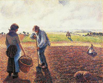 Peasants In The Field Eragny Print by Camille Pissarro