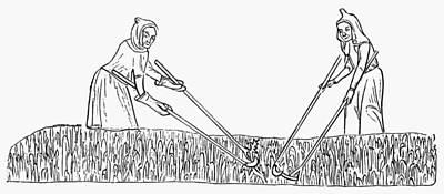 Pruning Painting - Peasants' Weeding, C1340 by Granger